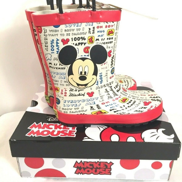 Disney Other - Disney Mickey Mouse Kids Rain Boots Size 11/12